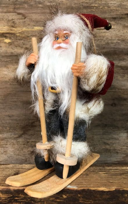 Traditional Father Christmas on Skis Large Tree Decoration
